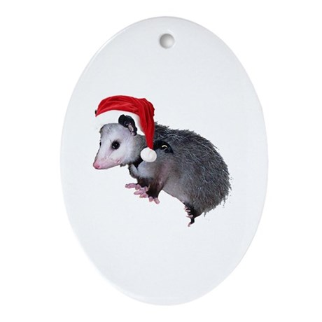Santa Possum Oval Ornament