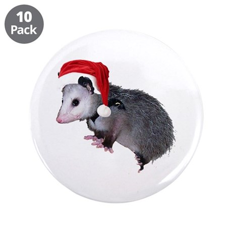 "Santa Possum 3.5"" Button (10 pack)"