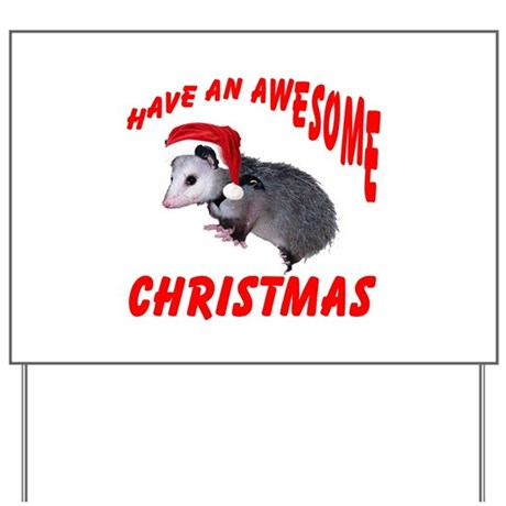 Santa Helper Possum Yard Sign