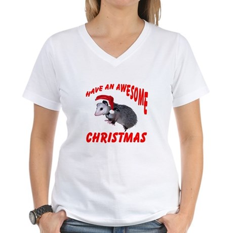 Santa Helper Possum Women's V-Neck T-Shirt