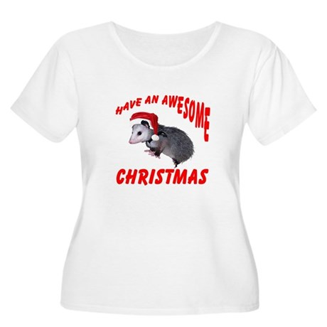 Santa Helper Possum Women's Plus Size Scoop Neck T