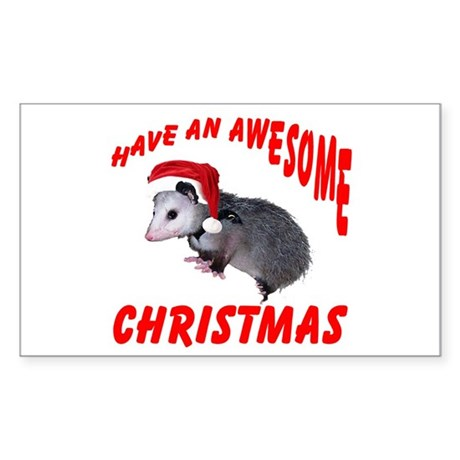 Santa Helper Possum Rectangle Sticker