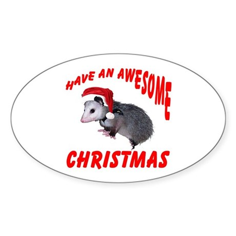 Santa Helper Possum Oval Sticker