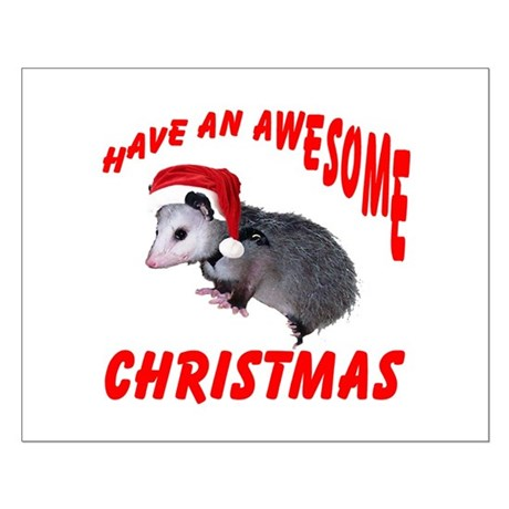 Santa Helper Possum Small Poster