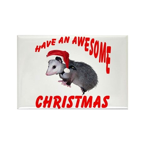 Santa Helper Possum Rectangle Magnet
