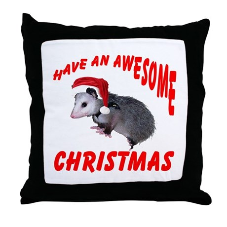 Santa Helper Possum Throw Pillow