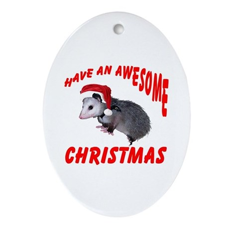 Santa Helper Possum Oval Ornament