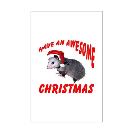 Santa Helper Possum Mini Poster Print