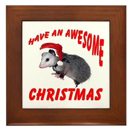 Santa Helper Possum Framed Tile