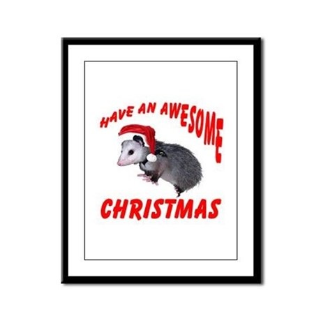 Santa Helper Possum Framed Panel Print
