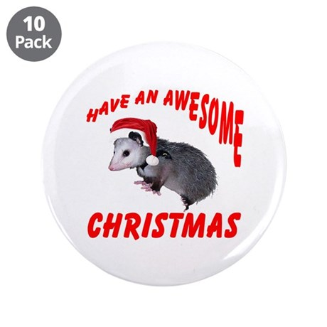 "Santa Helper Possum 3.5"" Button (10 pack)"