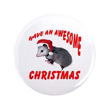 "Santa Helper Possum 3.5"" Button"