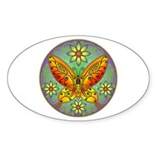 Celtic Butterfly (orange) Oval Decal