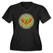 Celtic Butterfly (orange) Women's Plus Size V-Neck
