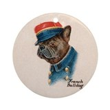 Patriotic Dog WW1 French Bulldog Ornament (Round)