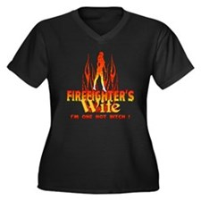 Firefighter's Wife Women's Plus Size V-Neck Dark T