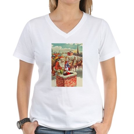 Santa's Helper Possum Women's V-Neck T-Shirt