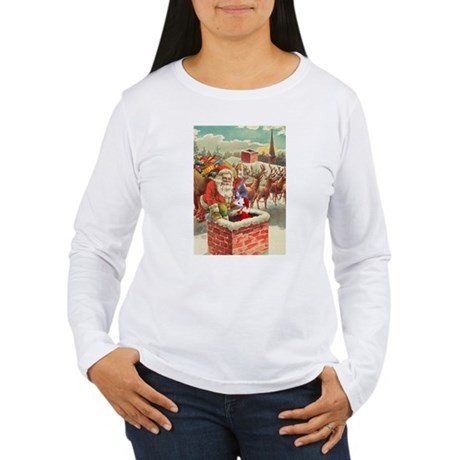 Santa's Helper Possum Women's Long Sleeve T-Shirt