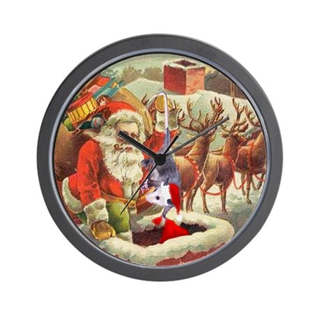 Santa's Helper Possum Wall Clock