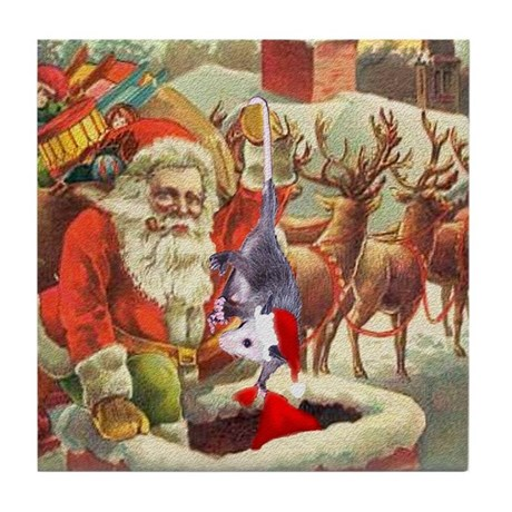 Santa's Helper Possum Tile Coaster
