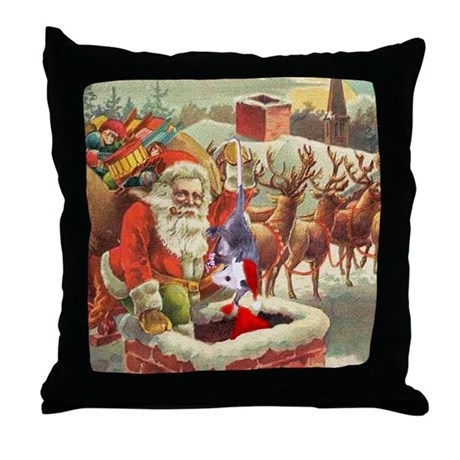Santa's Helper Possum Throw Pillow