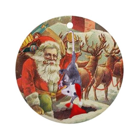 Santa's Helper Possum Ornament (Round)