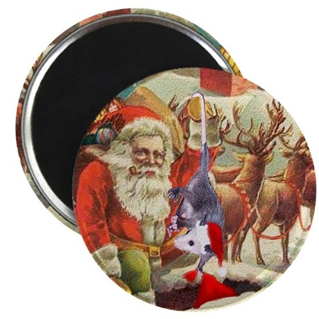 Santa's Helper Possum Magnet