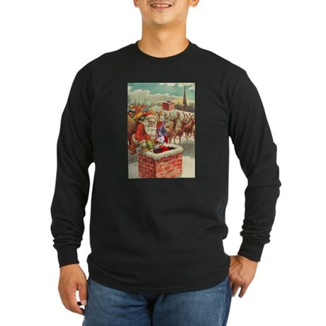 Santa's Helper Possum Long Sleeve Dark T-Shirt