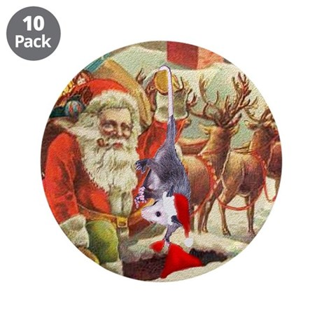 "Santa's Helper Possum 3.5"" Button (10 pack)"