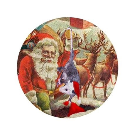 "Santa's Helper Possum 3.5"" Button"