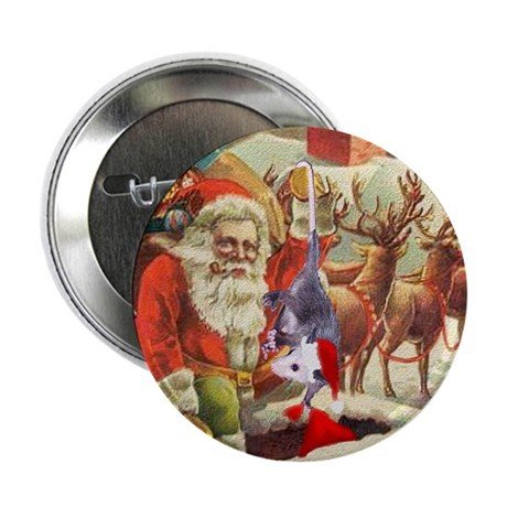 "Santa's Helper Possum 2.25"" Button"