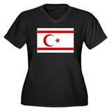 North Cyprus flag Women's Plus Size V-Neck Dark T-
