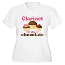 Funny Chocolate Clarinet Women's Plus Size V-Neck