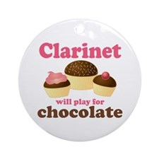 Funny Chocolate Clarinet Ornament (Round)