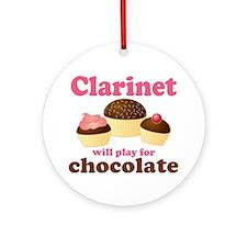 Funny Chocolate Clarinet Ornament (Round)