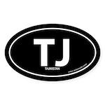 Tajikistan country bumper sticker -Black (Oval)