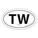 Tawain country bumper sticker -White (Oval)