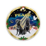 Peace Wreath (G) + 2 Black Labs Ornament (Round)