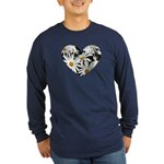 Daisy Heart Long Sleeve Dark T-Shirt