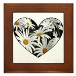 Daisy Heart Framed Tile