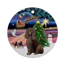 Xmas Magic & Irish Water Spaniel Ornament (Round)