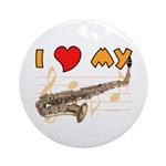 I *HEART* My Sax Ornament (Round)