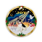 XmasSunrise(JOY)-Rat Terrier Ornament (Round)