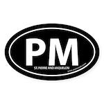 St. Pierre & Miquelon bumper sticker -Black (Oval)