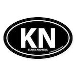 St. Kitts & Nevis bumper sticker -Black (Oval)