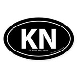 St. Kitts &amp; Nevis bumper sticker -Black (Oval)