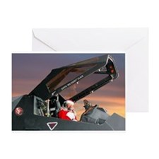 Stealth Pilot Santa Greeting Card