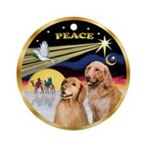 XmasDove(P)/ 2 Goldens Ornament (Round)