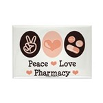 Peace Love Pharmacy Pharmacist Rectangle Magnet (1