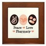 Peace Love Pharmacy Pharmacist Framed Tile